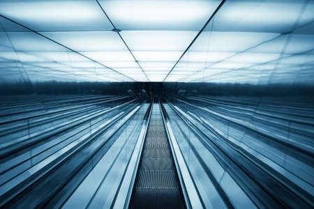 futuristic escalator ,abstract space in a modern building  photo