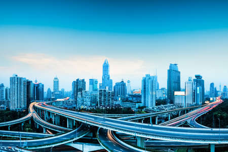 city highway overpass panoramic with shanghai skyline, modern traffic background