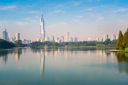 modern city building reflected in beautiful nanjing xuanwu lake Foto de archivo