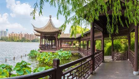 corridors: chinese traditional corridors in nanjing mochou lake Stock Photo