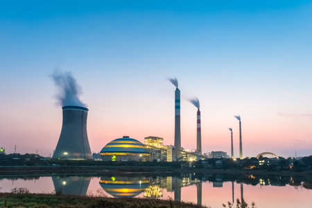 cooling towers: coal power station at night , industrial landscape