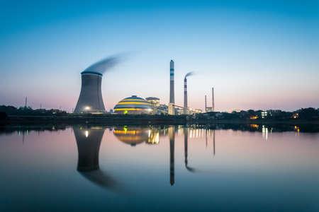 industrial landscape , coal power plant in nightfall