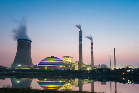 factory power generation: coal power plant in nightfall , industry landscape