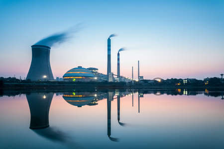 nightfall: industry landscape , coal fired power plant in nightfall