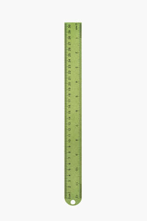 inches: ruler stationery isolated on white with clipping path