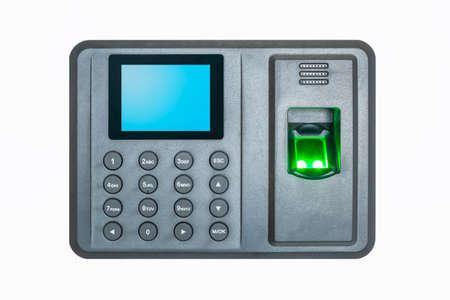 fingerprint attendance machine on a white background Stock Photo