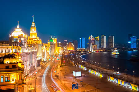 shanghai skyline: beautiful shanghai bund at night , China