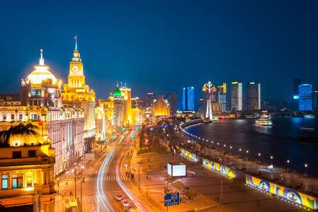 beautiful shanghai bund at night , China