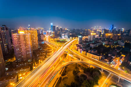 prosperous: junction of city road at night  in prosperous shanghai , China