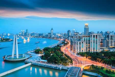 beautiful shanghai bund in nightfall ,dreamy modern city photo