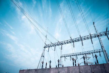 transformer substation against a blue sky ,electricity background Standard-Bild