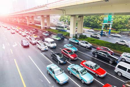 the urban traffic rush hour, modern city road closeup Stock Photo