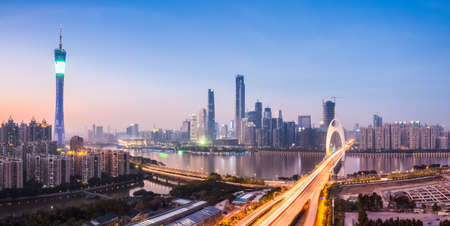 nightfall: panoramic view of guangzhou skyline in nightfall