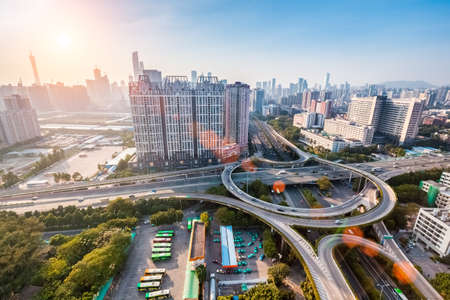 modern city interchange junction at dusk in guangzhou ,panoramic view