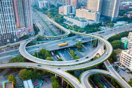 city interchange closeup , overpass junction in guangzhou