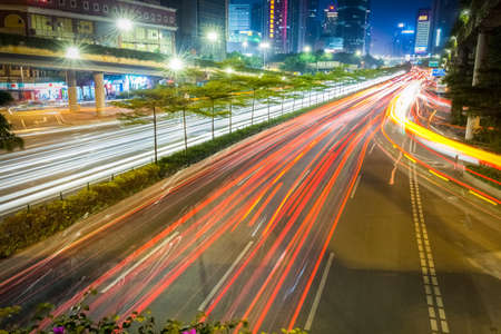 light trails on rush hour traffic at night in guangzhou