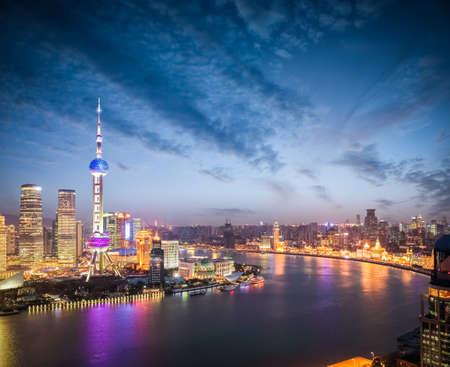 huangpu: beautiful nightfall scene on both sides of the huangpu river in shanghai ,high angle view.