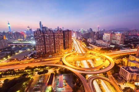 huangpu: guangzhou huangpu interchange road in nightfall , panoramic view Stock Photo