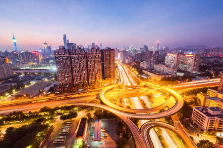 interchange: guangzhou huangpu interchange road in nightfall , panoramic view Stock Photo