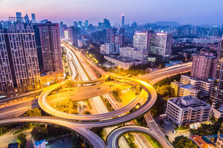 nightfall: aerial view of the huangpu interchange at guangzhou in nightfall Stock Photo