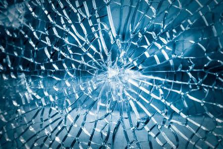 Gebroken gehard glas close-up, de achtergrond van glas was ingeslagen Stockfoto - 35484064