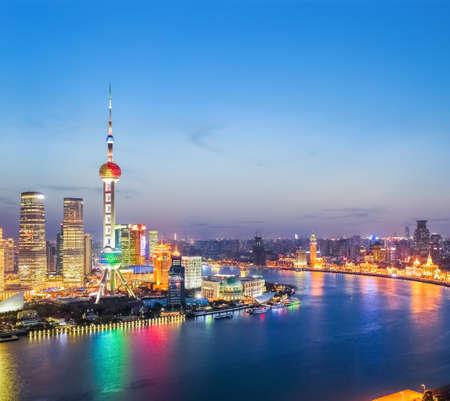 huangpu: beautiful shanghai in the evening ,  huangpu river and pudong skyline