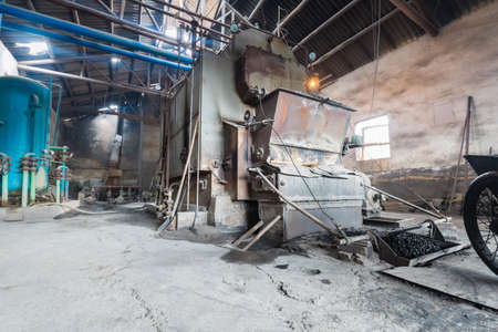 coal plant: old industrial boiler in an old factory
