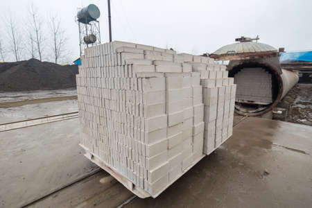 cement pile: autoclaved aerated concrete block in a building materials plant