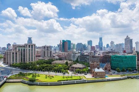 huangpu: Huangpu district of shanghai against a sunny sky by suzhou riverside