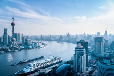 huangpu: a birds eye view of the huangpu river in afternoon , shanghai , China