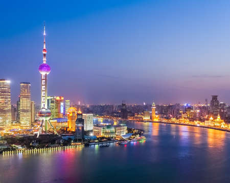 huangpu: aerial view of shanghai huangpu river in nightfall