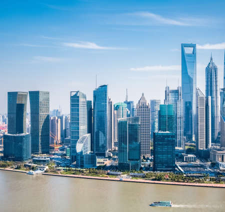 pudong district: modern building group in shanghai pudong