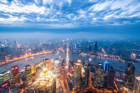 nightfall: a birds eye view of magic city of shanghai in nightfall Editorial