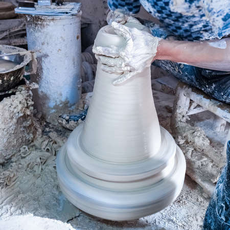 wheeling: traditional hand-made porcelain , kaolin on jolley