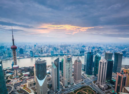 shanghai skyline: a birds eye view of shanghai at dusk, charming modern city