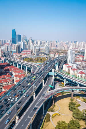 viaducts: interchange of viaducts on traffic rush hour in shanghai Stock Photo