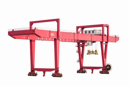 port machinery, rail-mounted gantry container crane isolated on white