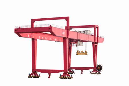 gantry: gantry container crane isolated on white,  port machinery