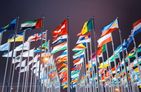 世界中の国の国旗 写真素材