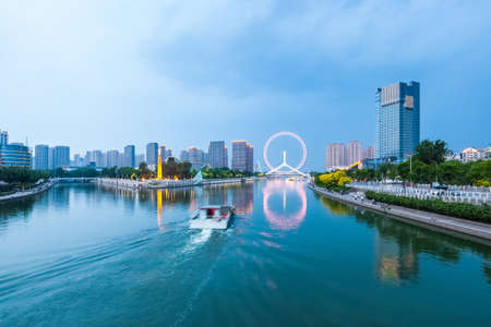 beautiful tianjin scenery of haihe river  in cloudy at dusk ,China