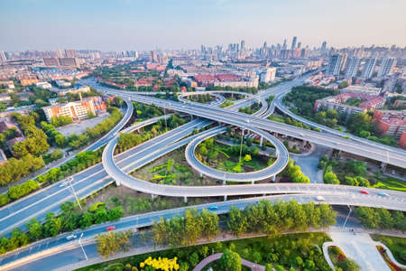 green building: City interchange in Tianjin, high angle view