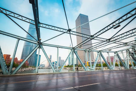 movable bridge: Tianjin jiefang bridge close up, classical Chinas movable steel structure bridge, built in 1927