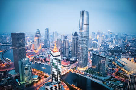 nightfall: aerial view of tianjin financial district in nightfall, china Stock Photo
