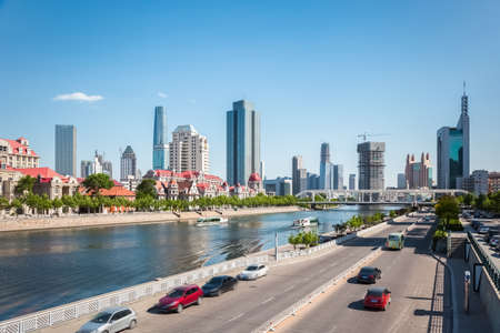 city road: skyline and city road in tianjin Stock Photo