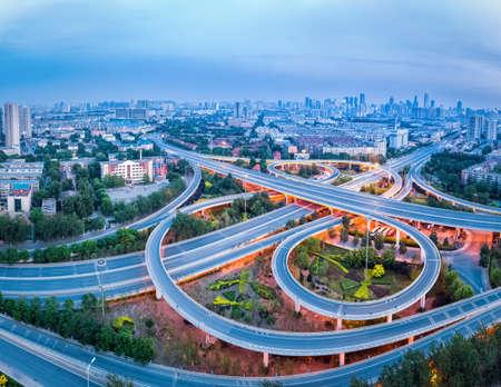 interchange: aerial view of city interchange in tianjin, panorama of highway junction