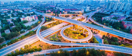 overpass closeup in the evening, panorama of city interchange in tianjin