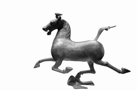 metal sculpture: horse stepping on flying swallow was a wonderful masterpiece of the bronze sculptures in han dynasty, China, now is a chinese tourism sign,