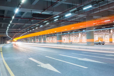 trail: light trails on the city underground road