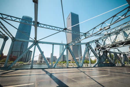 movable: movable steel bridge closeup in tianjin ,China