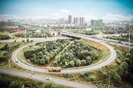 wuhan: city interchange road in Wuhan, transport infrastructure background